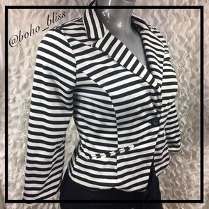 HAVE | Black & White Striped Blazer Jacket